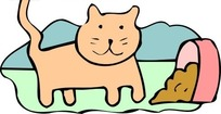 儿童画倒出食盆的猫食和小猫