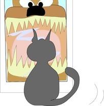 儿童画灰色猫咪的背影
