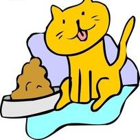 儿童画看着猫食舔舌头的猫
