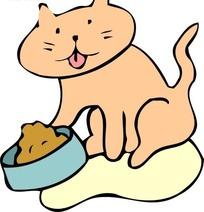 儿童画猫食边上的猫