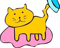 儿童画用尾巴挑着猫食盘的黄猫