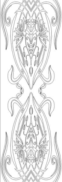黑白线描花纹矢量素材