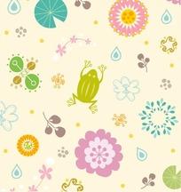可爱的花草动物艺术插画