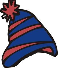蓝底红条帽子