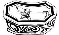 矢量陶瓷枕头童子放风筝