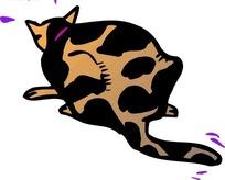 手绘黑色斑点猫的背影