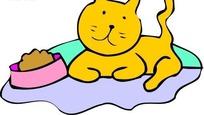 手绘趴在猫食边上的黄猫