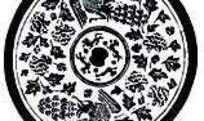 古代飞鹤纹瓦当图案矢量素材