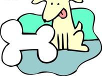 手绘蹲在骨头边上舔舌头的小狗