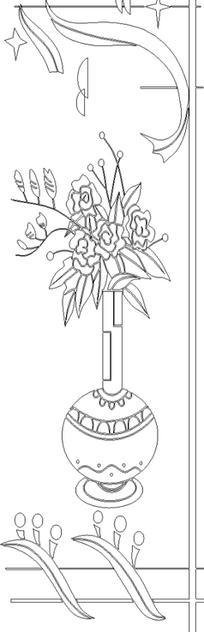 单色线条画花瓶与E形块图案hpgl格式