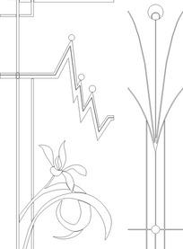 单色线条画锯齿线几何与简约花朵图案hpgl格式