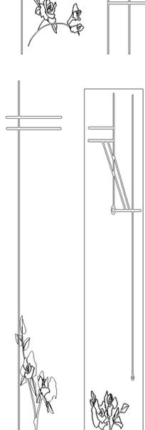 单色线条画玫瑰与几何边框hpgl格式