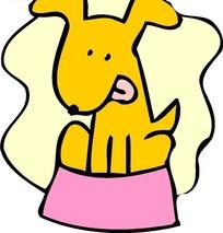 儿童画蹲在狗食盘里舔舌头的小狗
