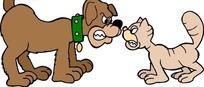 卡通画呲牙相对的小猫和小狗