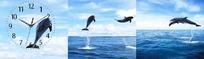 无框挂画时钟-海洋上的海豚