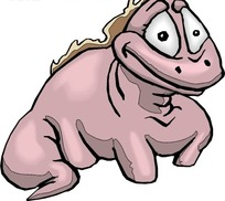 卡通画瞪大眼睛的小恐龙