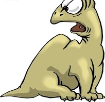 手绘瞪大眼睛很吃惊的恐龙