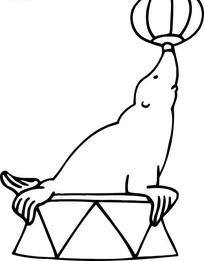线描画顶球的海豹