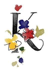 手绘英文字母K和花朵插画文件