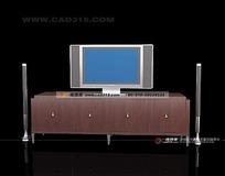 红棕色的电视柜和电视音响3dmax模型