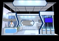 蓝色豪华产品展示厅效果图3D模型素材