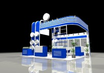 蓝色新颖产品展示厅效果图3D模型下载