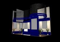 蓝色主题产品展示厅效果图3D模型素材