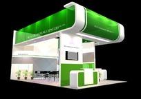 绿色背景产品展示厅效果图3D模型下载