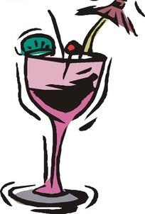 手绘一个装着饮料的紫色高脚杯