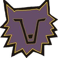 手绘一只紫色狼头图案