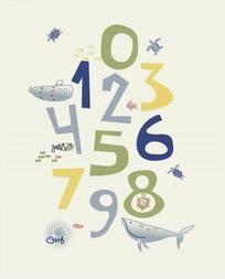 手绘海洋生物及阿拉伯数字底画