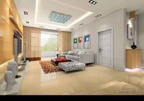 豪华新颖客厅装饰效果图3D素材