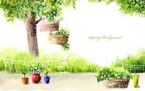 春天绿树盆栽漫画素材