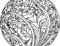 单色圆形花朵树木藤蔓图案AI矢量文件