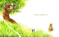 大树上卡通房子鸟窝漫画背景素材
