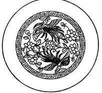 古典凤凰花纹图案圆盘矢量素材