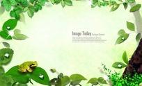 青蛙站在树叶上花藤边框