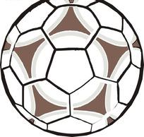 手绘画着大棕色五角星的足球