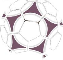 手绘画着紫色五角星的足球