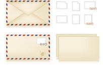 一套信封邮票信纸模板设计PSD素材