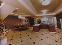 开放式厨房餐厅3D素材