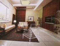 深色调现代客厅设计3D素材