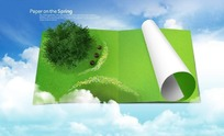 纸上绿色草地和大树