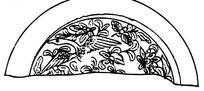 中国古典图案-花朵/叶子/凤凰构成的半圆形图案