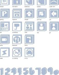 蓝灰色的各种常见标志和数字