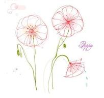 矢量花朵叶子插画线稿设计文件