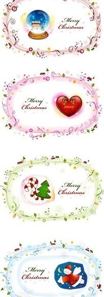 水晶球/卷曲的藤蔓/心形/蝴蝶结/圣诞树/圣诞老人构成的四幅矢量图