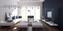 现代极简落地窗客厅3dmax模型