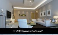 极简风格布艺沙发客厅3dmax模型