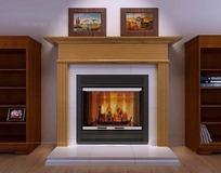 木飾面羅馬柱裝飾在燃燒的壁爐3dmax模型